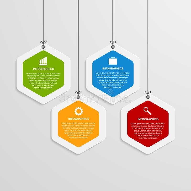 Αφηρημένο πρότυπο infographics χρώματος hexagon απεικόνιση αποθεμάτων