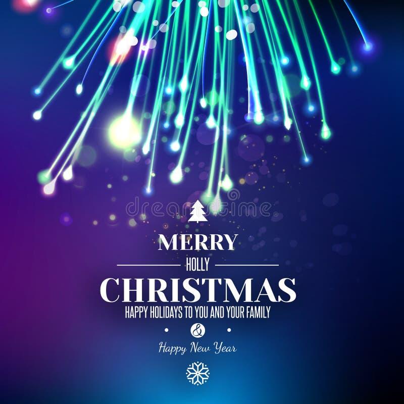 Αφηρημένο πυροτέχνημα Χριστουγέννων στο μπλε διαστημικό υπόβαθρο διανυσματική απεικόνιση