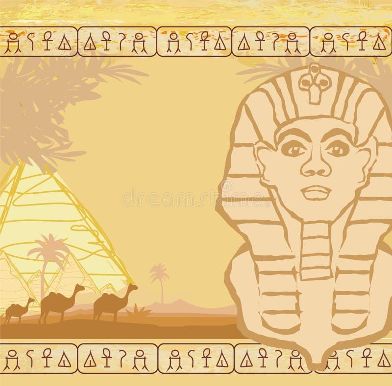Αφηρημένο πλαίσιο grunge - μεγάλο Sphinx Giza απεικόνιση αποθεμάτων