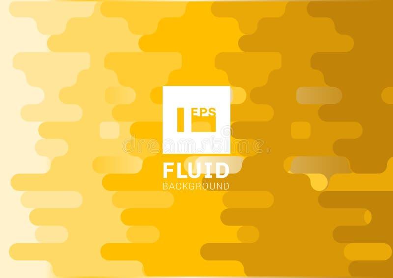 Αφηρημένο ρευστό κίτρινο στρογγυλευμένο ημίτονο ύφος υποβάθρου γραμμών Υγρό οριζόντιο σχέδιο μορφής διανυσματική απεικόνιση