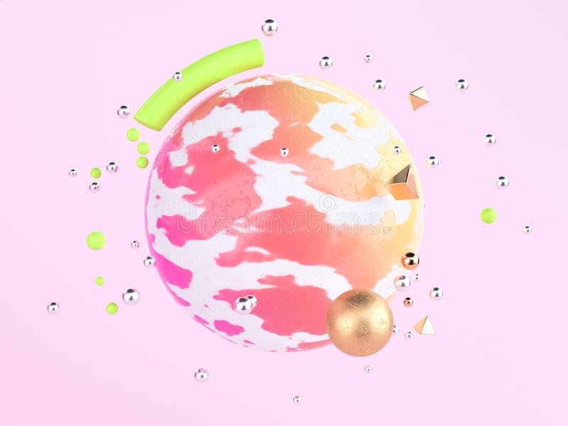 Αφηρημένο ροζ με τη σφαίρα που επιπλέει τη ζωηρόχρωμη τρισδιάστατη απόδοση μορφής σκηνής γεωμετρική διανυσματική απεικόνιση