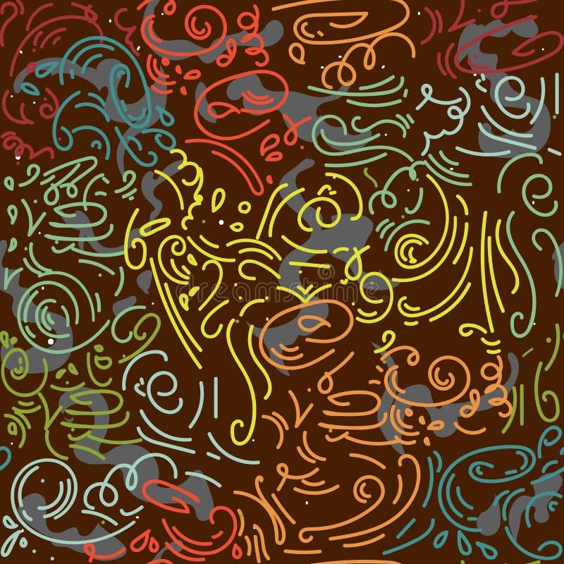 Αφηρημένο ρομαντικό διάνυσμα σχεδίων doodle συρμένο χέρι χαοτικές κυματιστές γραμμές, μπούκλα, υπόβαθρο κυλίνδρων πρότυπο άνευ ρα διανυσματική απεικόνιση