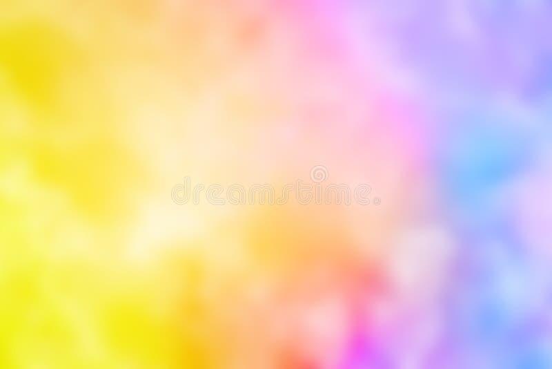 Αφηρημένο ρόδινο μπλε κόκκινο κιτρινοπράσινο ιώδες πορτοκαλί πορφυρό ράντισμα χρώματος watercolor που θολώνεται ελεύθερη απεικόνιση δικαιώματος