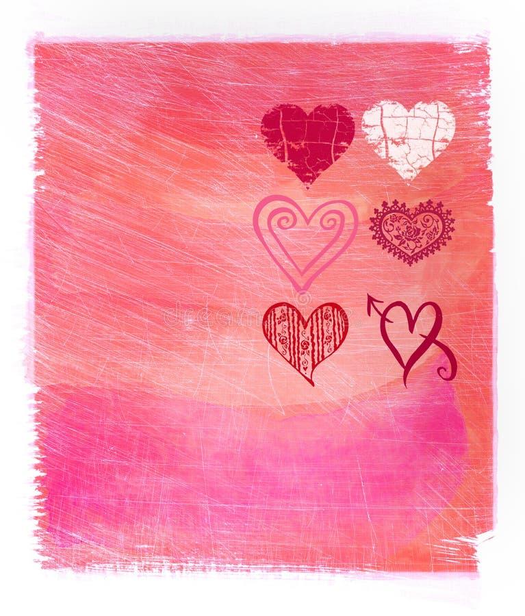 αφηρημένο ρόδινο watercolor καρδιών &a διανυσματική απεικόνιση