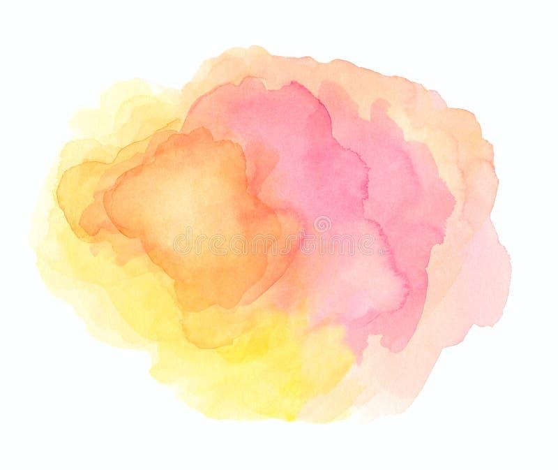 Αφηρημένο ρόδινο watercolor στο άσπρο υπόβαθρο Το ράντισμα χρώματος στο έγγραφο Είναι ένα που σύρεται χέρι απεικόνιση αποθεμάτων