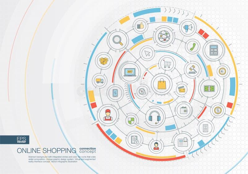 Αφηρημένο σε απευθείας σύνδεση υπόβαθρο αγορών Ψηφιακός συνδέστε το σύστημα με τους ενσωματωμένους κύκλους, επίπεδα εικονίδια χρώ ελεύθερη απεικόνιση δικαιώματος