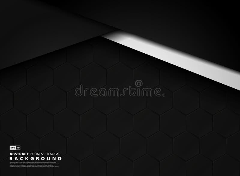 Αφηρημένο σκοτεινό υπόβαθρο τεχνολογίας προτύπων του εξαγωνικού σχεδίου r διανυσματική απεικόνιση