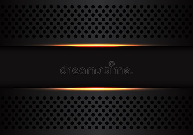 Αφηρημένο σκούρο γκρι έμβλημα στο μαύρο πλέγμα κύκλων με το κίτρινο ελαφρύ διάνυσμα υποβάθρου τεχνολογίας σχεδιασμού σύγχρονο φου ελεύθερη απεικόνιση δικαιώματος