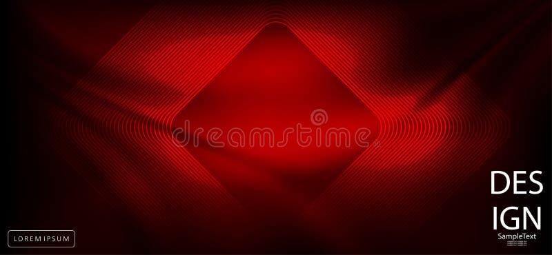 Αφηρημένο σκούρο κόκκινο σχέδιο με το τετραγωνικό πλαίσιο διανυσματική απεικόνιση