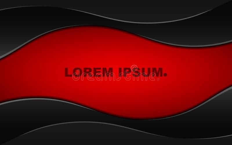 Αφηρημένο σκούρο κόκκινο υπόβαθρο με τις μαύρες κυματιστές λουρίδες όμορφες γραμμές Σφιχτό ύφος μετάλλων Έμβλημα για τους ιστοχώρ ελεύθερη απεικόνιση δικαιώματος