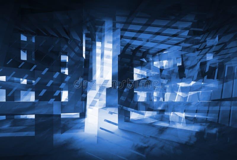 Αφηρημένο σκούρο μπλε τρισδιάστατο ψηφιακό υπόβαθρο υψηλή τεχνολογία έννοια&sigm ελεύθερη απεικόνιση δικαιώματος