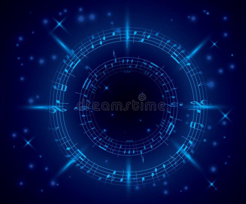 Αφηρημένο σκούρο μπλε υπόβαθρο μουσικής με τις σημειώσεις διανυσματική απεικόνιση