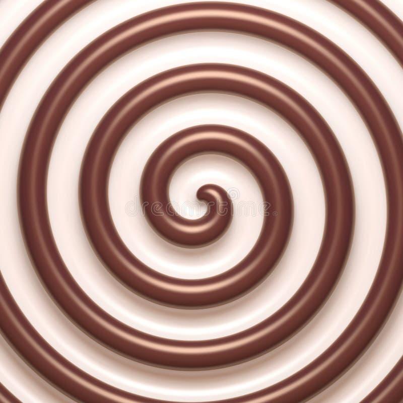 Αφηρημένο σπειροειδές υπόβαθρο σοκολάτας και κρέμας απεικόνιση αποθεμάτων