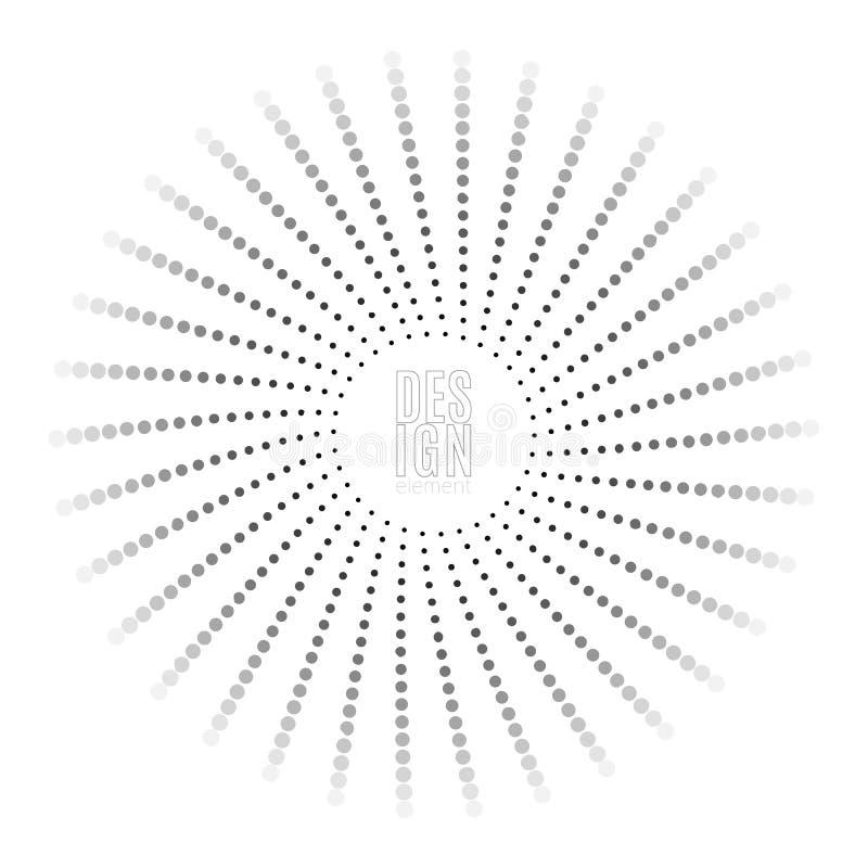 Αφηρημένο στρογγυλό έμβλημα κύκλων του μαύρου στοιχείου σημείων για το σχέδιο με τις διαστιγμένες ακτίνες στο αναδρομικό διακοσμη διανυσματική απεικόνιση