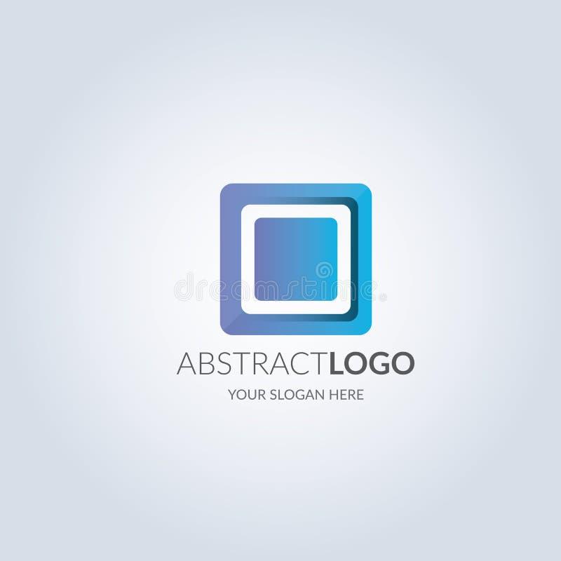 Αφηρημένο στρογγυλό λογότυπο συμβόλων γωνιών τετραγωνικό στην μπλε κλίση χρώματος γράψιμο προτύπων σημειωματάριων πυρκαγιάς σχεδί απεικόνιση αποθεμάτων