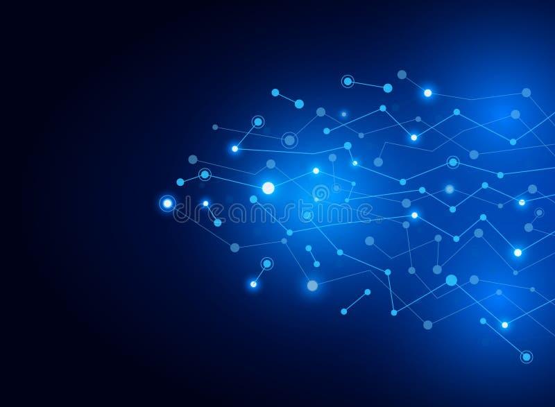 Αφηρημένο συνδέοντας σκούρο μπλε υπόβαθρο μορίων σημείων και γραμμών Στοιχεία τεχνολογίας ή επιστημονική έννοια απεικόνιση αποθεμάτων