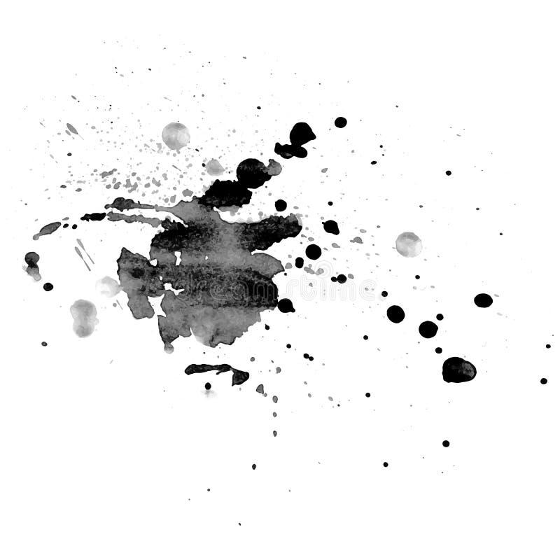 αφηρημένο συρμένο λεκές watercolor Καλλιτεχνικό διανυσματικό στοιχείο σχεδίου Χρωματισμένοι χέρι παφλασμοί Grayscale διάνυσμα διανυσματική απεικόνιση