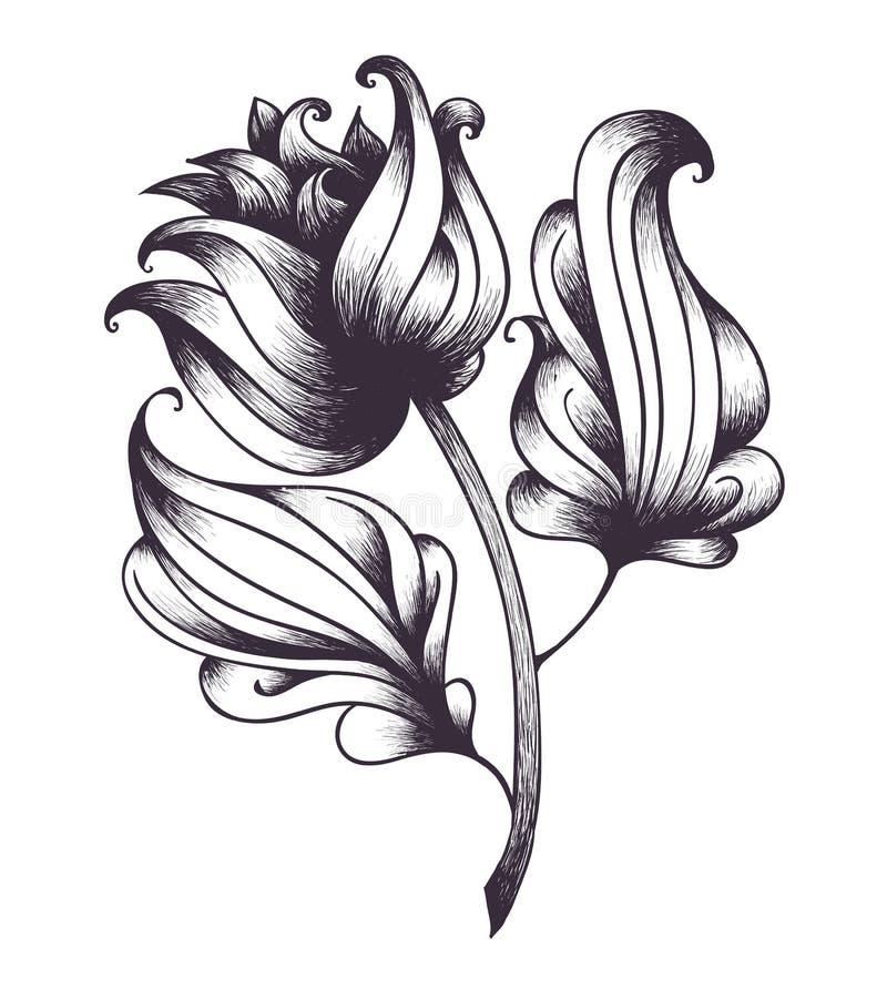 Αφηρημένο συρμένο χέρι λουλούδι επίσης corel σύρετε το διάνυσμα απεικόνισης διανυσματική απεικόνιση