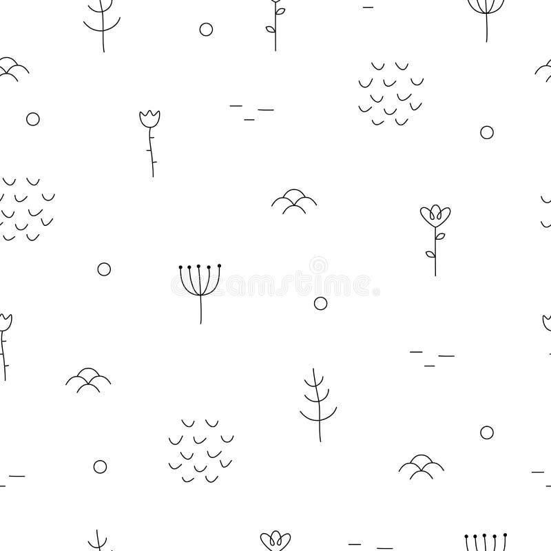 Αφηρημένο συρμένο χέρι σχέδιο με τα floral και δασικά στοιχεία διανυσματική απεικόνιση