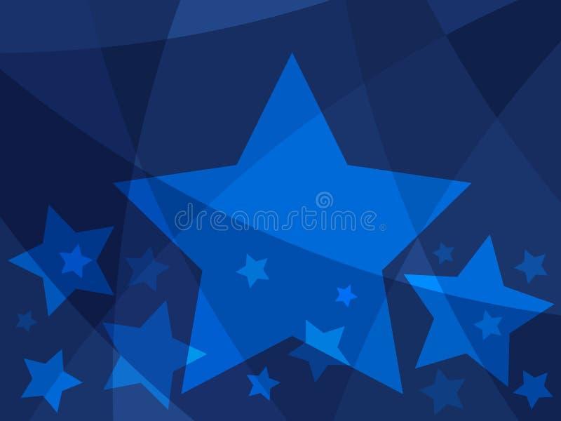 Αφηρημένο σχέδιο αστεριών με τα μπλε αστέρια σε ένα σύγχρονο δημιουργικό υπόβαθρο απεικόνιση αποθεμάτων