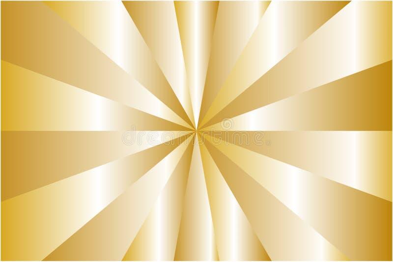 Αφηρημένο σχέδιο ηλιοφάνειας, μεταλλικά χρυσά χρώματα ακτίνων Διανυσματική απεικόνιση, EPS10 γεωμετρικό πρότυπο ελεύθερη απεικόνιση δικαιώματος