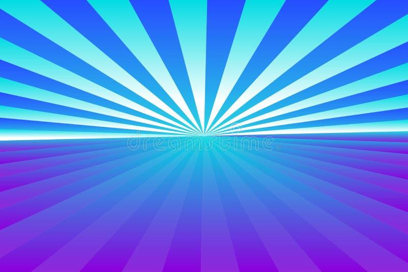 Αφηρημένο σχέδιο ηλιοφάνειας, μπλε, ιώδης πορφύρα κλίσης, και άσπρες χρωματισμένες ακτίνες Διανυσματική απεικόνιση, EPS10 γεωμετρ ελεύθερη απεικόνιση δικαιώματος