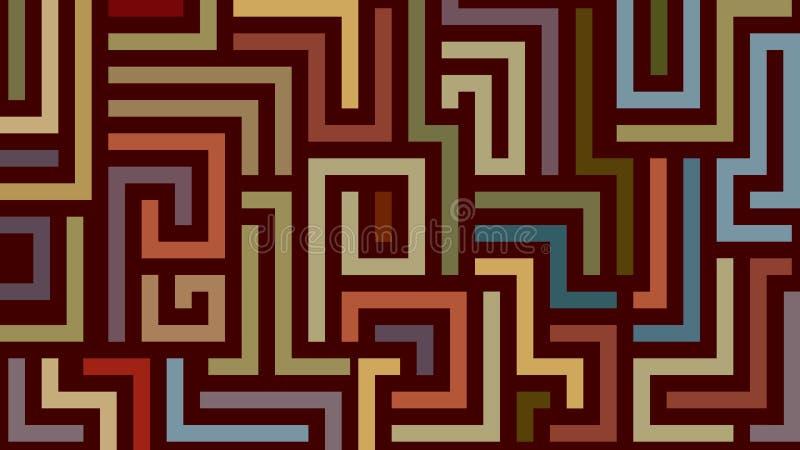 Αφηρημένο σχέδιο λαβύρινθων στα θερμά χρώματα διανυσματική απεικόνιση