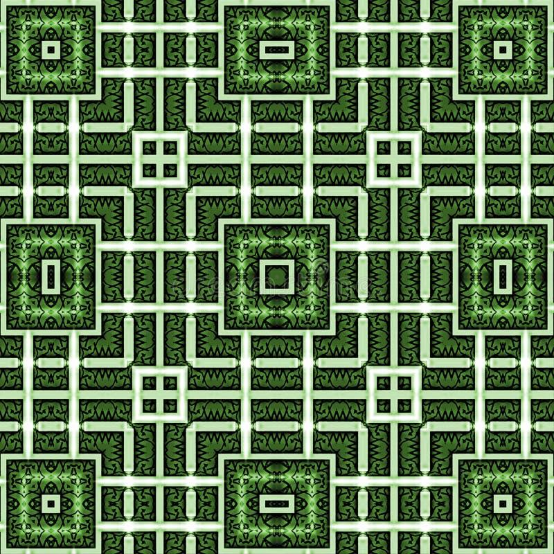 Αφηρημένο σχέδιο μιας διακόσμησης, λωρίδες, τετράγωνο Πράσινα, άσπρα χρώματα απεικόνιση αποθεμάτων