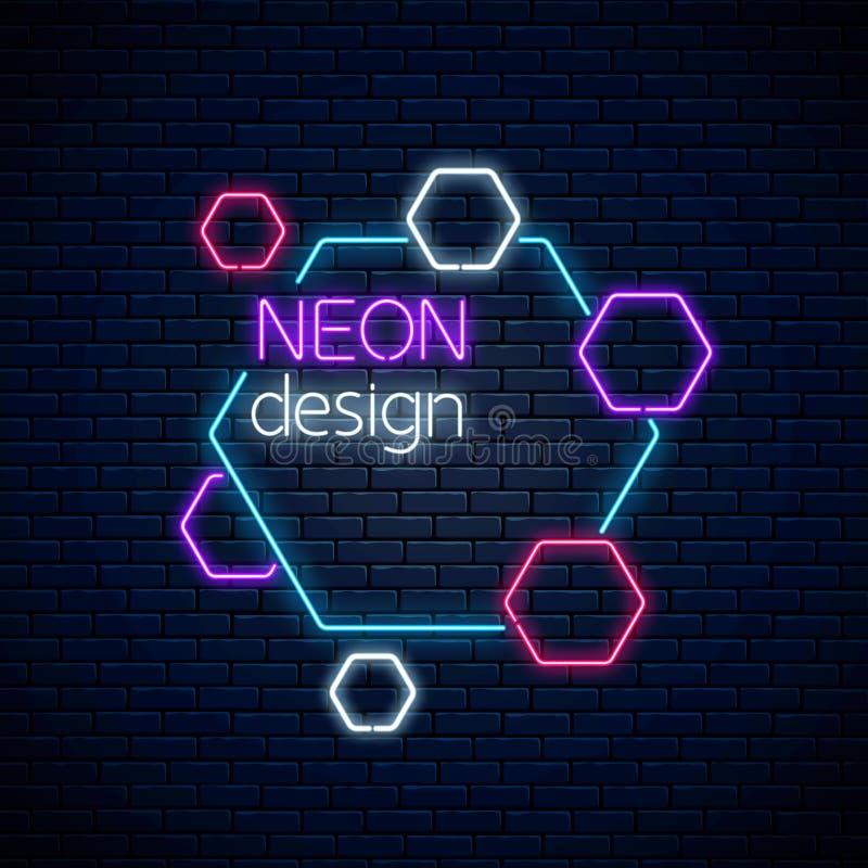 Αφηρημένο σχέδιο πυράκτωσης νέου στο σκοτεινό υπόβαθρο τουβλότοιχος Γεωμετρικό υπόβαθρο με hexagons στο ύφος νέου ελεύθερη απεικόνιση δικαιώματος