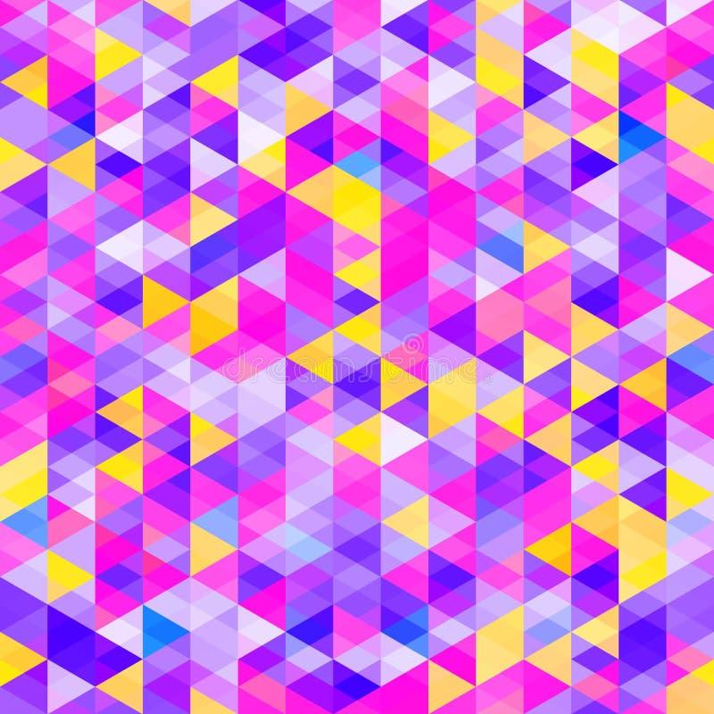 Αφηρημένο σχέδιο των ζωηρόχρωμων τριγώνων Φωτεινές κρύες σκιές χρώματος διανυσματική απεικόνιση