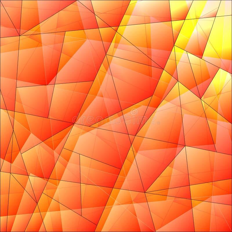 Αφηρημένο σχέδιο των πορτοκαλιών και επικαλύπτοντας πιάτων των τριγώνων και των ακανόνιστα διαμορφωμένων γραμμών διανυσματική απεικόνιση