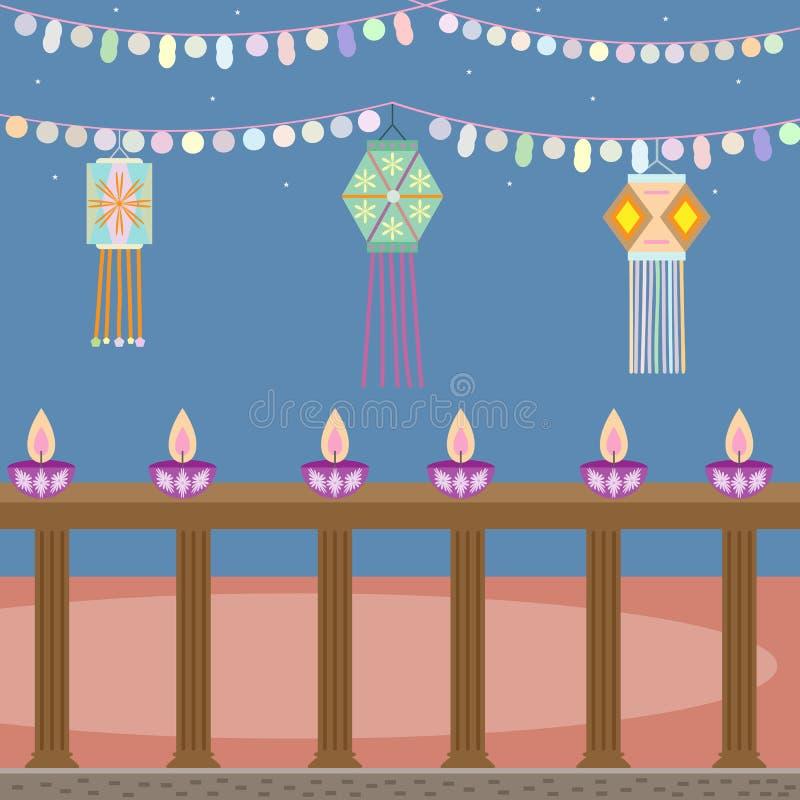 Αφηρημένο σχέδιο dewali με τα φανάρια και τα κεριά στο όμορφο υπόβαθρο χρώματος απεικόνιση αποθεμάτων