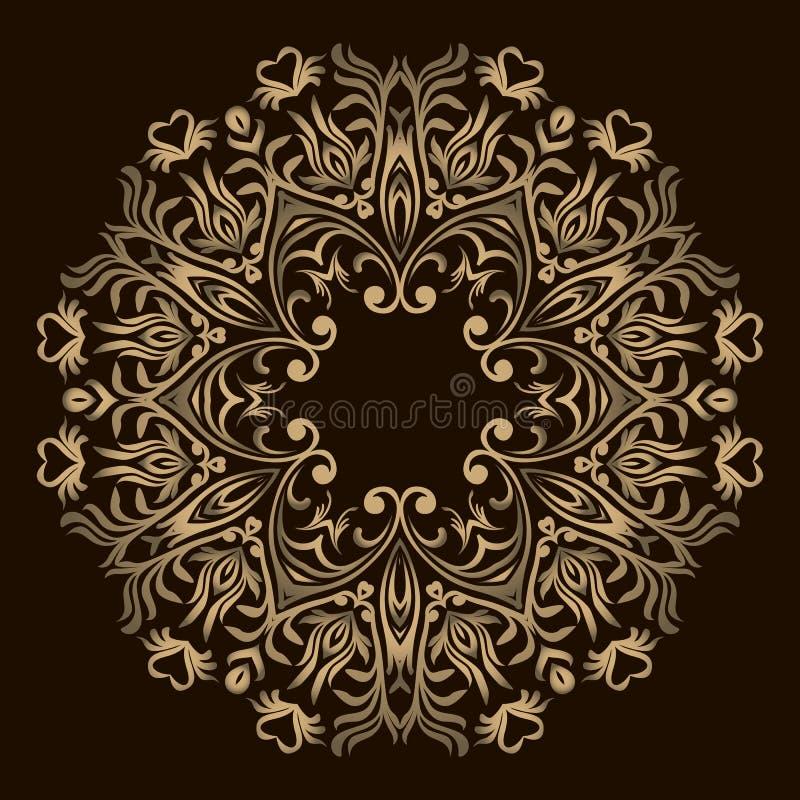 Αφηρημένο σχέδιο Mandala λουλουδιών Διακοσμητικά στρογγυλά στοιχεία Ασιατικό σχέδιο, διανυσματική απεικόνιση Στρογγυλό στοιχείο σ απεικόνιση αποθεμάτων