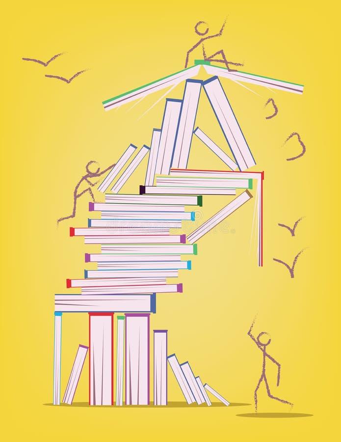Αφηρημένο σχέδιο με πολλούς βιβλία και αριθμούς ραβδιών που κινούνται γύρω ελεύθερη απεικόνιση δικαιώματος