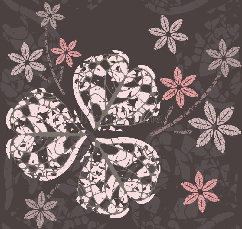 Αφηρημένο σχέδιο με τα διακοσμητικά φύλλα και τα λουλούδια τριφυλλιού ελεύθερη απεικόνιση δικαιώματος
