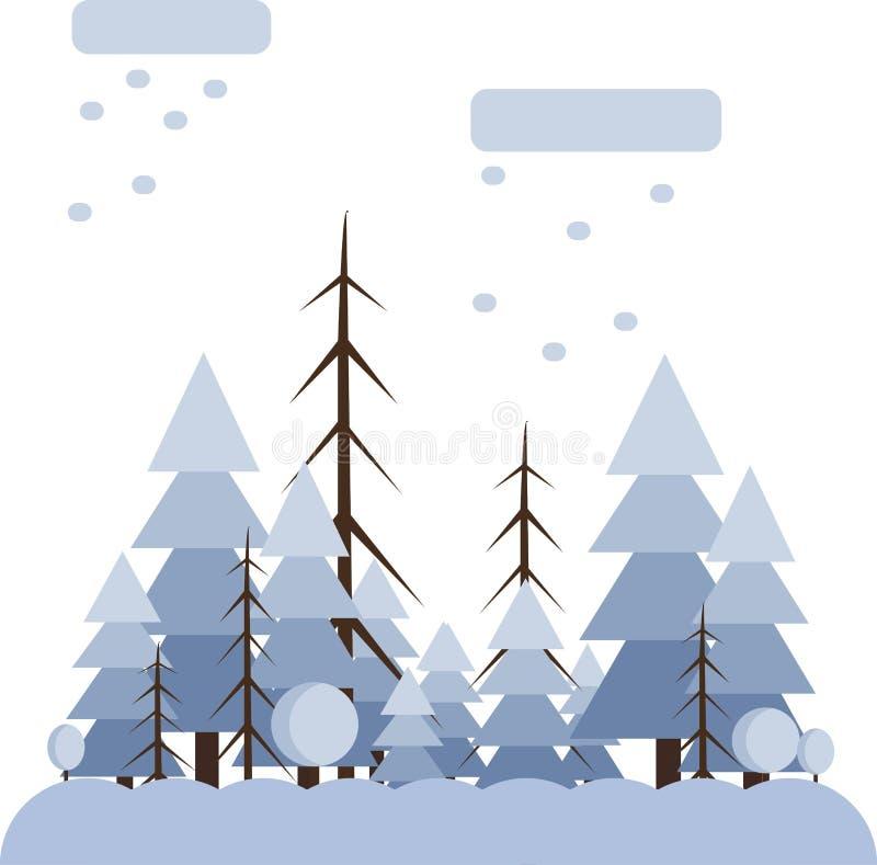 Αφηρημένο σχέδιο τοπίων με τα άσπρα δέντρα και τα σύννεφα, που χιονίζουν σε ένα δάσος το χειμώνα, επίπεδο ύφος ελεύθερη απεικόνιση δικαιώματος