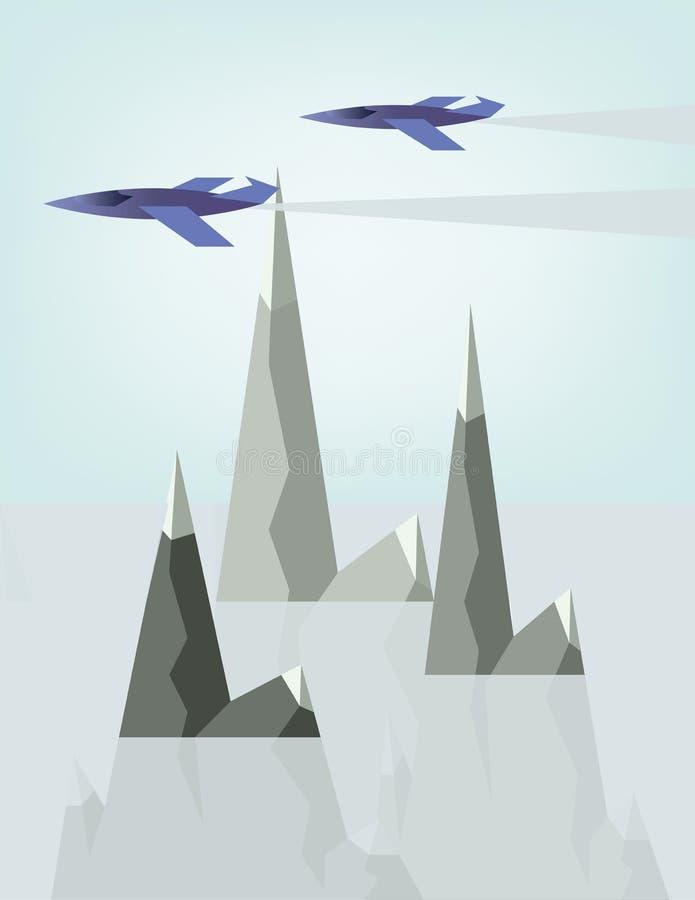 Αφηρημένο σχέδιο τοπίων με τα αεροπλάνα αεριωθούμενων αεροπλάνων και τον καπνό που πετούν επάνω από τα ασημένια βουνά με το χιόνι διανυσματική απεικόνιση