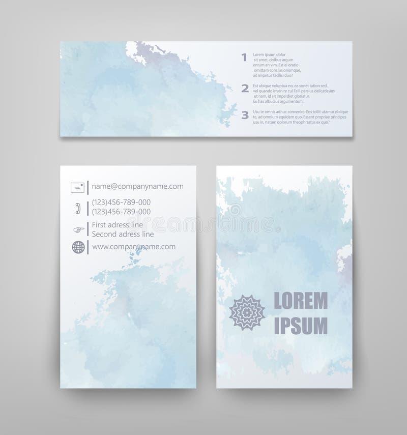 Αφηρημένο σχέδιο φυλλάδιων ύφους watercolor στο μπλε απεικόνιση αποθεμάτων