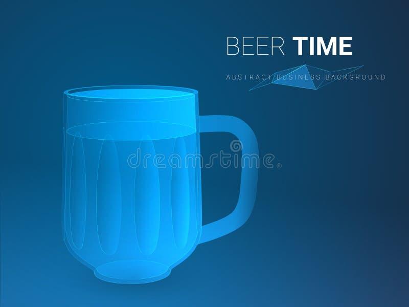 Αφηρημένο σύγχρονο διάνυσμα επιχειρησιακού υποβάθρου που απεικονίζει το χρόνο μπύρας στη μορφή της κούπας μπύρας στο μπλε υπόβαθρ ελεύθερη απεικόνιση δικαιώματος
