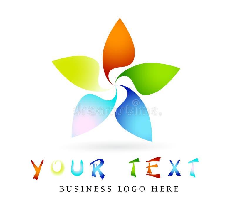 Αφηρημένο σύγχρονο ζωηρόχρωμο λογότυπο κύκλων, ουράνιο τόξο, λουλούδι, στοιχείο, floral, διάνυσμα μορφής λουλουδιών και διανυσματ διανυσματική απεικόνιση
