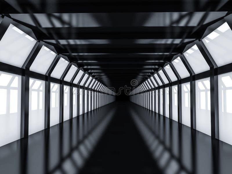 Αφηρημένο σύγχρονο υπόβαθρο αρχιτεκτονικής, κενός σκοτεινός ανοιχτός χώρος ι ελεύθερη απεικόνιση δικαιώματος