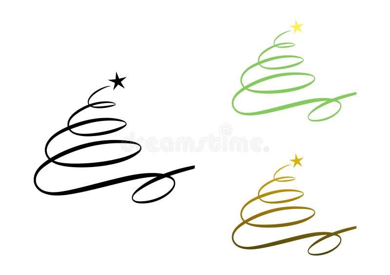 Αφηρημένο σύγχρονο χριστουγεννιάτικο δέντρο (θέστε) απεικόνιση αποθεμάτων