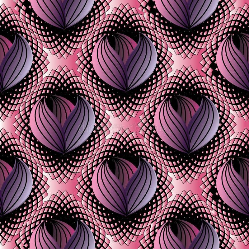 Αφηρημένο σύγχρονο floral άνευ ραφής σχέδιο Μαύρο ρόδινο ημίτονο vec απεικόνιση αποθεμάτων