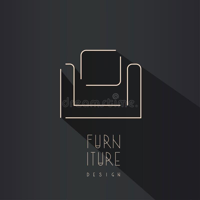 Αφηρημένο σύμβολο καρεκλών - δημιουργικό σχέδιο λογότυπων επίπλων στοκ εικόνα