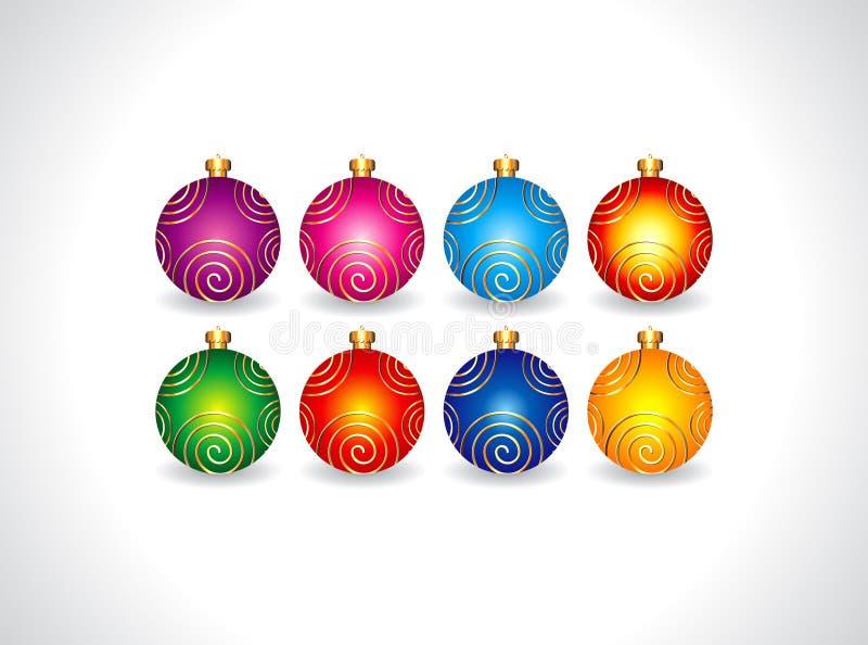 Αφηρημένο σύνολο σφαιρών Χριστουγέννων απεικόνιση αποθεμάτων