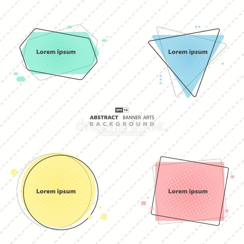 Αφηρημένο σύνολο σχεδίου προτύπων εμβλημάτων ζωηρόχρωμο r διανυσματική απεικόνιση
