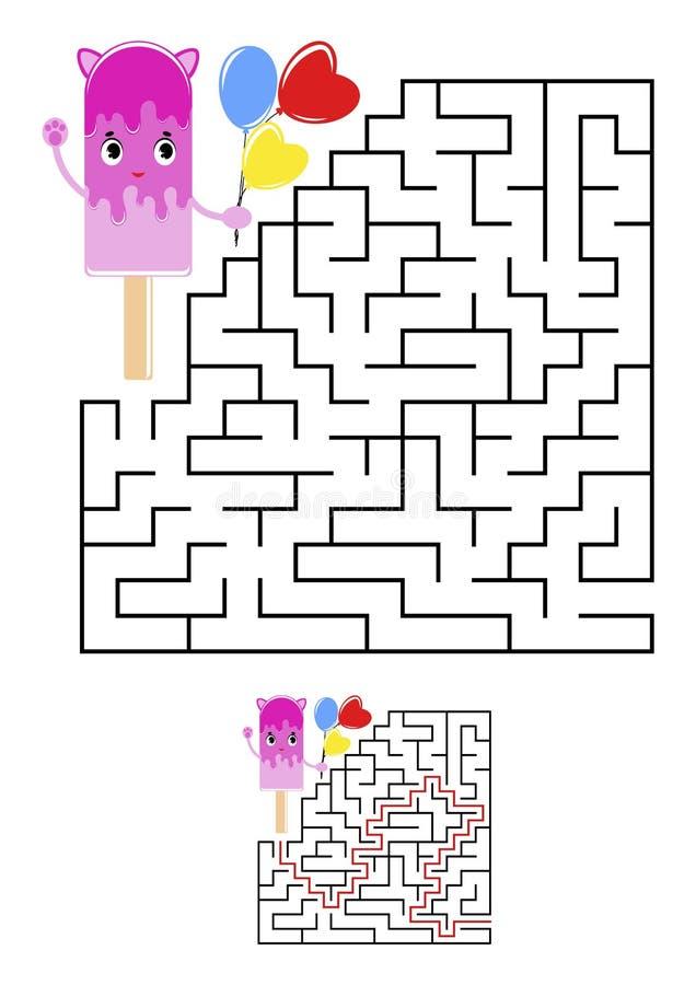αφηρημένο τετράγωνο λαβυ& Φύλλα εργασίας παιδιών Γρίφος παιχνιδιών για τα παιδιά Χαριτωμένο παγωτό σε ένα άσπρο υπόβαθρο Κάποιος  ελεύθερη απεικόνιση δικαιώματος