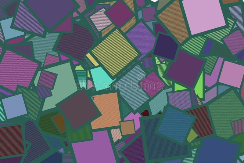 Αφηρημένο τετράγωνο με το παραγωγικό υπόβαθρο τέχνης γραμμών Σύσταση, κάλυψη, ύφος & διακόσμηση διανυσματική απεικόνιση