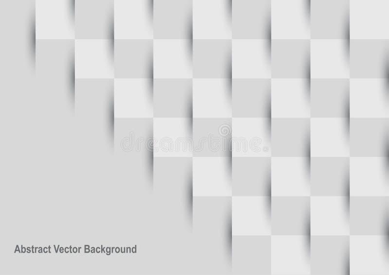 Αφηρημένο τετραγωνικό γκρίζο και άσπρο υπόβαθρο μωσαϊκών διανυσματική απεικόνιση