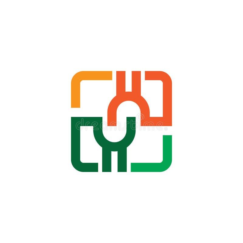 Αφηρημένο τετραγωνικό διάνυσμα σχεδίου λογότυπων διανυσματική απεικόνιση